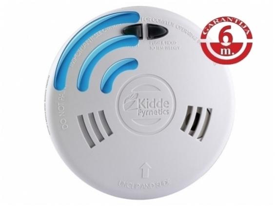 230V maitinamas, radijo ryšiu sujungiamas dūmų detektorius su jonizacijos jutikliu Kidde Slick 1SFW