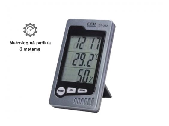 Vidaus patalpų temperatūros ir drėgmės matuoklis su metrologine patikra DT-323