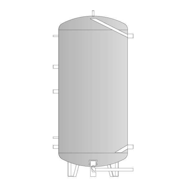 Vandens šildytuvas su 2 šilumokaičiais, 1000 L talpa