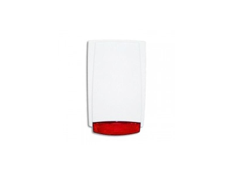 Lauko sirena MR-100 (raudona)  Lauko sirena su akumuliatoriumi. Perspėjimo garsas115dB/m. Nominali įtampa: 13.8 VDC. Maks. srovės suvartojimas aliarmo režime: 0.5A. Pakraunamas akumuliatorius: 12V-1.2Ah. Matmenys: 250 x 155 x 67 mm.