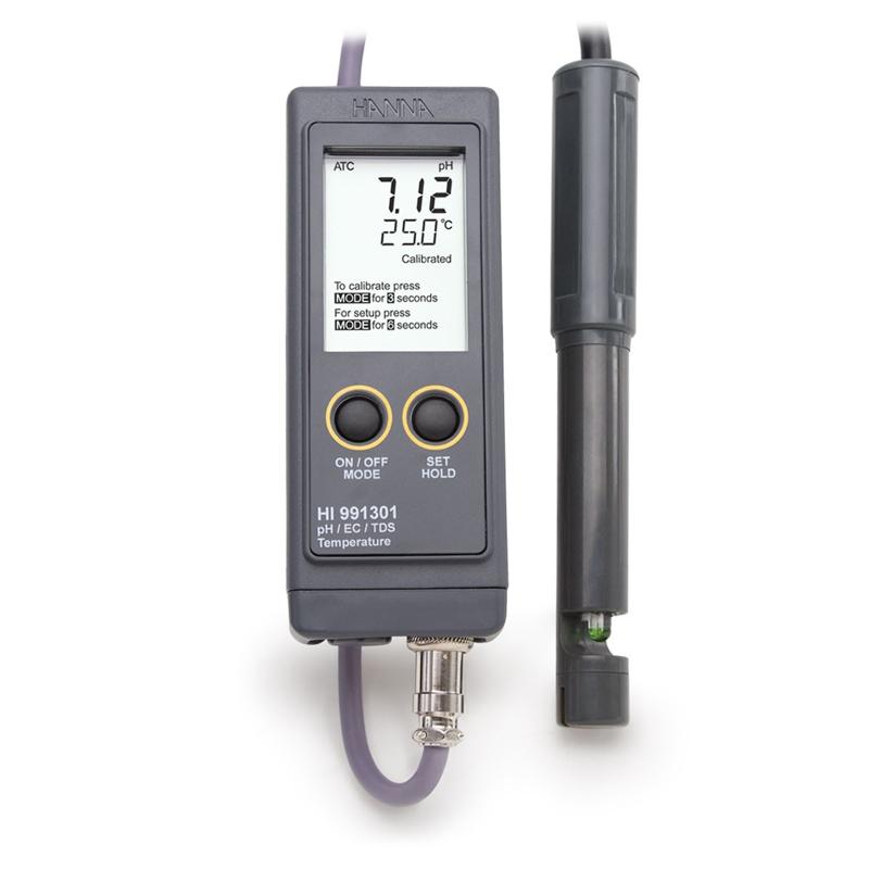 Aukšto diapazono laidumo (EC), TDS, pH ir temperatūros matuoklis HI-991301