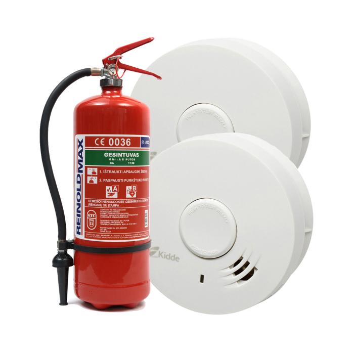 Autonominis dūmų detektorius 10Y29 (2 vnt) ir 6 kg vandens putų gesintuvas