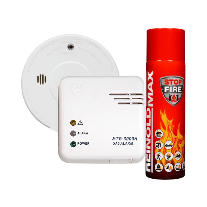 Dujų nuotėkio detektorius MTG-3000, dūmų detektorius I9060, 500 ml gesintuvas