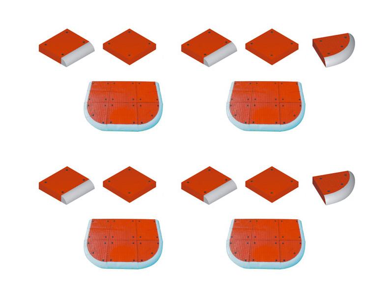 Kelio saugumo salelės    Iš trijų elementų suformuojamos saugumo salelės, skirtos įrengti pėsčiųjų perėjose. Konstrukcija sukurta taip, kad leistų daug kartų surinkti ir išrinkti salelę. Šviesą atspindintys elementai yra puikiai matomi tiek dieną, tiek naktį.