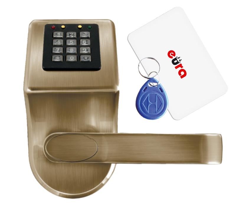 Elektroninė durų spyna su RFID kortelių skaitytuvu ir kodiniu užraktu ELH-70B9 / ruda (valdymo dalis)