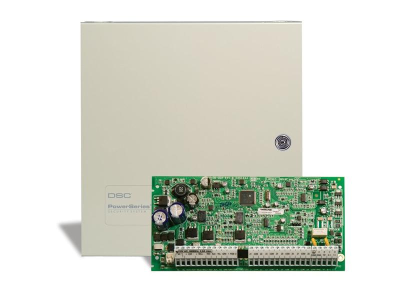 Apsaugos signalizacijos centralė DSC PC1832  8 zonų apsaugos signalizacijos centralė (su galimybe išplėsti iki 32 zonų), 2 PGM išvestys, palaiko iki 8 klaviatūrų. 4 particijos, šabloninis programavimas, 72 vartotojų kodai, 500 įvykių atmintis.  Palaiko belaides klaviatūras su TR5164-433 radijo imtuvu. Taip pat palaiko bevielius CO detektorius.