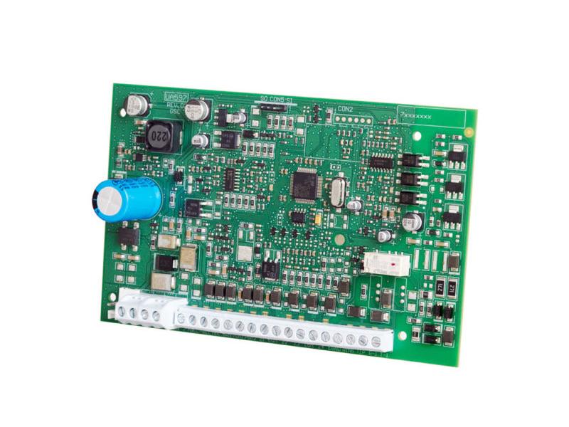 """Apsaugos signalizacijos centralė DSC PC1404  4 zonos plokštėje (gali būti plečiama iki 8 zonų). Centralė palaiko iki 4 pultelių ir iki 4 telefono numerių. Viena particija. Turi 128 įvykių atmintį. Apsaugos signalizacijos centralė palaiko iki 39 vartotojo kodų ir 1 """"master"""" kodą su 6 programuojamais vartotojo kodų atributais.  Lanksti zonų konfigūracija: 29 zonų tipai ir 11 programuojamų zonų atributų.  Nuolat stebi galimų gedimų sąlygas. Turi daug netikro aliarmo prevencijos savybių."""