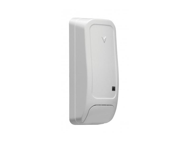 Belaidis durų / langų kontaktas DSC PG8945  Pasirenkamas zonos iėjimo tipas: NO, NC arba EOL. Matomas ryšio kokybes indikatorius.  Veikimo dažnis: 898 MHz. Darbinė temperatūra: nuo 0 iki +50 C°.  Spalva: balta arba ruda.  Matmenys: 81 x 32 x 25 mm.