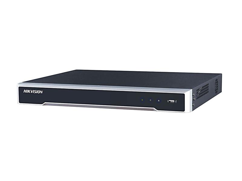 Vaizdo įrašymo įrenginys Hikvision NVR DS-7608NI-K2/8P  8 kanalų NVR. 8 PoE kanalai. 2 SATA sąsajos (iki 6 TB kiekvienam HDD). Įeinantis srautas iki 80Mbps. Palaiko H.265/H.265+/H.264/H.264+/MPEG4 vaizdo formatus.  Iki 8 Mpx įrašymo rezoliucija. Audio įėjimas/išėjimas. HDMI / VGA išėjimai.