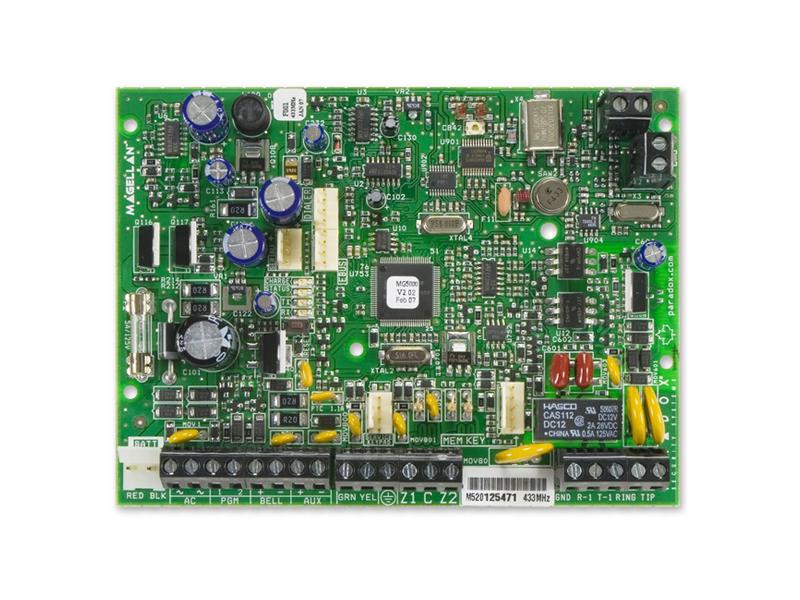 Centralė PARADOX Magelan MG5000 (433 MHz)  2 (4 su ATZ) laidinės zonos ir/arba 32 bevielės zonos (plečiama iki 32 zonų). Iki 8 bevielių ir 15 laidinių klaviatūrų (įskaitant ZX8 zonų išplėtėjus). 2 sritys. 2 PGM (plečiama iki 16). 32 vartotojų kodai ir distanciniai pulteliai. Galima jungti iki 2 RPT1 signalo kartotuvų. Skambinimas į 2+1 pulto ir 5 privačius telefono Nr. Dviejų lygių nepilno sistemos įjungimo galimybė. 24 val. apsaugos režimas Stay-D. 2-jų laidų priešgaisrinė zona. 256 įvykių atmintis.