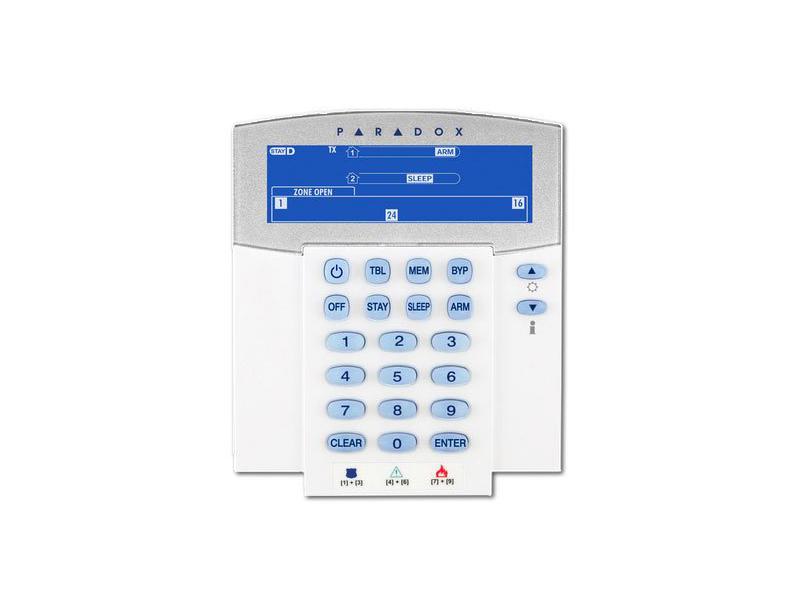 LED klaviatūra PARADOX K37LCD  32 zonų bevielė ikoninė LCD klaviatūra. Pilna 2 sričių statuso ir 32 zonų LCD indikacija. 3 tipų panikos aliarmo įjungimas. StayD režimas. 8 komandiniai mygtukai. Reguliuojamas pašvietimo intensyvumas. Veikimo atstumas tipinėse gyvenamosiose patalpose - 40 m.  Maitinimas: 2 x AA elementai arba DC 6V 350mA maitinimo šaltinis (PA6).
