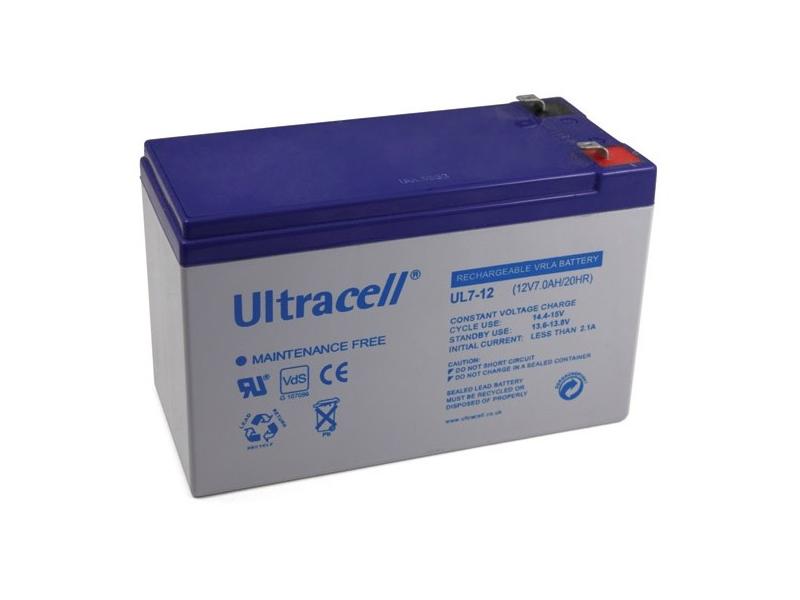 Akumuliatorius Ultracell UL7-12F2  12V, 7,0Ah švino – rūgštinis akumuliatorius hermetiškame korpuse. Matmenys: 151 x 65 x 93,4 mm. Svoris apie 2,05 kg.
