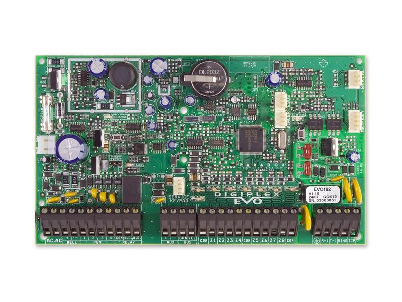 Apsaugos centralė PARADOX DIGIPLEX EVO192  8 zonų centralė (plečiama iki 192). 5 PGM, plečiama iki 250, PGM1 gali būti naudojamas kaip įėjimas dvilaidžiams priešgaisriniams jutikliams. Palaiko GSM modulį PCS100 IP modulį IP100, balso modulį VDMP3. Keturių laidų duomenų perdavimo jungtis. 8 sričių. 999 vartotojų kodai. 2048 įvykių buferis.