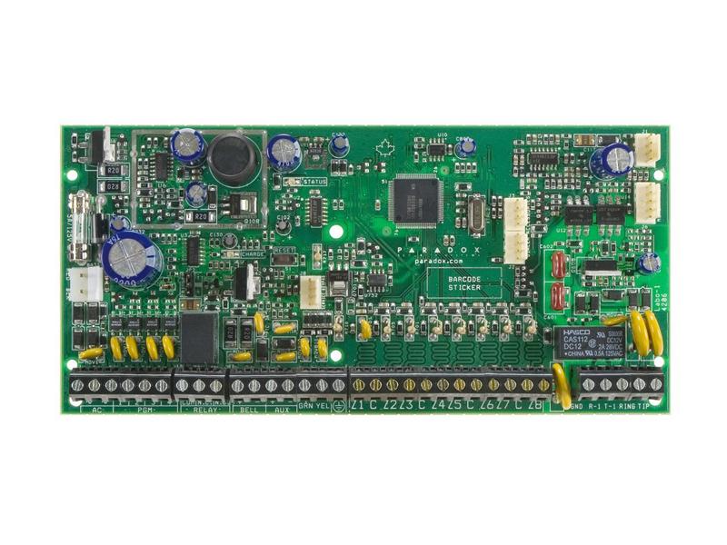 Apsaugos centralė PARADOX SPECTRA SP6000  8 bazinės zonos (16 su ATZ funkcija), 2 bazinės programuojamos zonos. Palaiko Stay D režimą. Keturių laidų duomenų perdavimo jungtis. Plečiama iki 32 zonų ir iki 16 programuojamų zonų. 2 particijos. 32 vartotojų kodai. Palaiko IP100 internetinį modulį. Palaiko VDMP3 Plug-in garso modulį. 256 įvykių buferis.  Programinės įrangos atnaujinimo galimybė iš kompiuterio per USB jungtį arba naudojant WinLoad programinę įrangą.