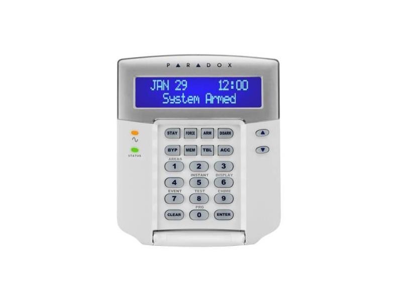 LCD klaviatūra PARADOX K641+  32 simbolių mėlynas ekranas su keičiamais užrašais. Klaviatūra gali būti priskirta vienai ar kelioms sritims. Pilna 8 sričių statuso ir 192 zonų indikacija. 8 komandiniai mygtukai. 1 adresinė zona. 1 programuojamas išėjimas. Reguliuojamas apšvietimas, kontrastas.