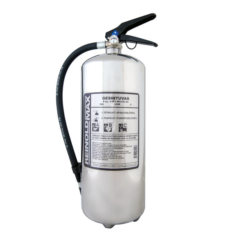 Nerūdijančio plieno miltelinio gesintuvo ReinoldMax 6kg