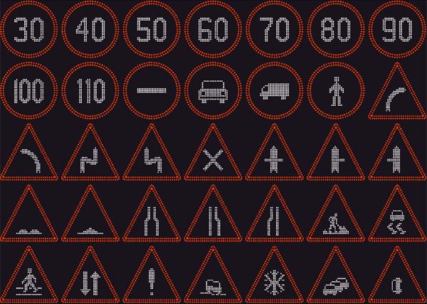 Kintamos informacijos šviečiantys įspėjamieji kelio ženklai   Ženklai, kurių informaciją galima keisti priklausomai nuo poreikio. Galima reguliuoti apšvietimo ryškumą, nedidelis energijos suvartojimas, nedidelio svorio, patogiai transportuojami įspėjamieji kelio ženklai.