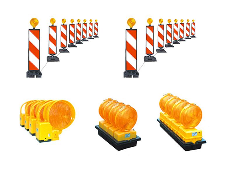 Įspėjamieji kelių apšvietimo stulpeliai ir lempos   Įvairių tipų įspėjamieji apšvietimo stulpeliai ir lempos, skirtos perspėti vairuotojus apie vykdomus kelio darbus ir kitas situacijas.
