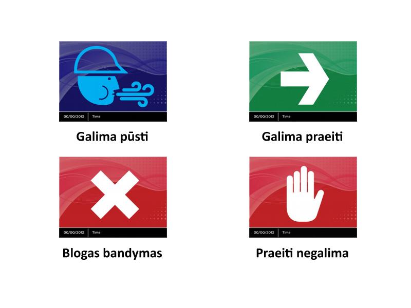 Informaciniai perspėjimai pateikiami ikonomis   Prietaiso ekrane informacija pateikiama aiškiai suprantamomis ikonomis. Vartotojui nereikia daryti jokių papildomų interpretacijų.