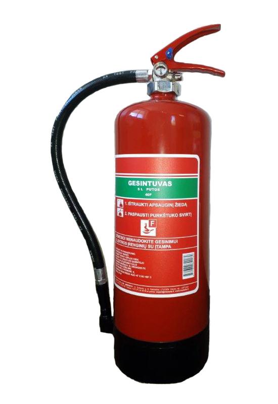 Vandens putų gesintuvas (6 L) F klasės gaisrams