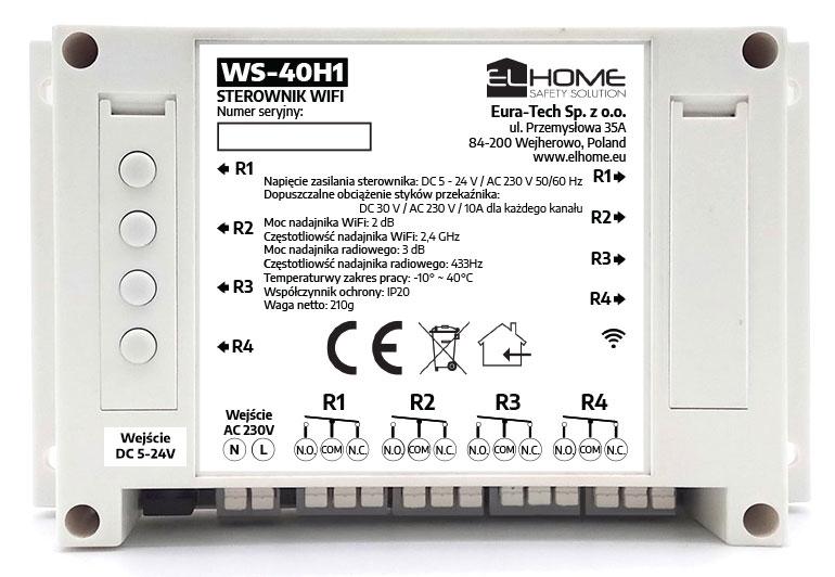 WiFi ir RF 433 Mhz valdiklis keturių prietaisų valdymui WS-40H1
